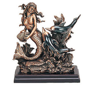 Mermaid & Two Dolphins Copper Coated Sculpture