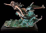 Copper Coated Mermaid & Two Dolphins Sculpture