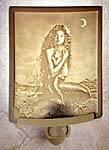 """Lithophane"" Mermaid & Child Translucent Porcelain Night Light Hand Crafted in the U.S.A. Artist: David Delamare"