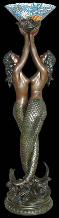 Mermaids Unlimited.Com - Large Double Mermaids Floor Lamp